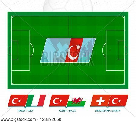 All Games Of The Turkey Football Team In European Competition. Football Field And Games Icon. Vector