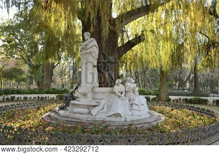 Seville, Spain - February 9, 2021: Monument Dedicated To The Romantic Poet