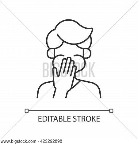 Nausea Linear Icon. Sick Person Covering Mouth. Ill Man With Stomachache Ready To Throw Up. Thin Lin