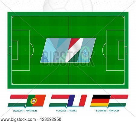 All Games Of The Hungary Football Team In European Competition. Football Field And Games Icon. Vecto