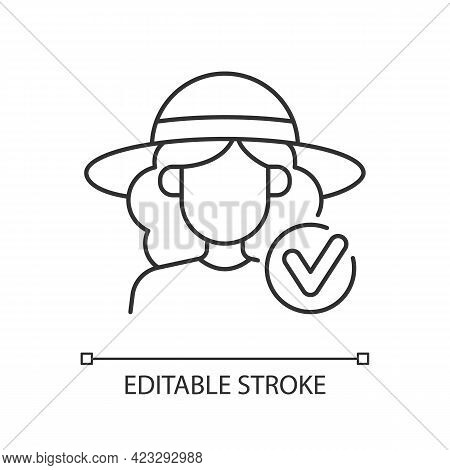 Wearing Wide Brimmed Hat Linear Icon. Woman In Outfit For Beach. Heatstroke Prevention. Thin Line Cu