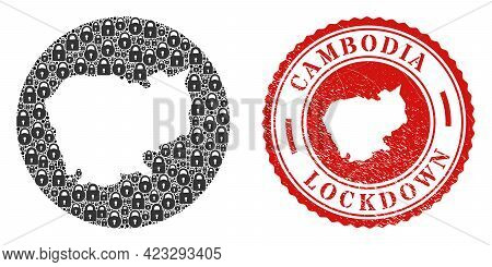 Vector Mosaic Cambodia Map Of Locks And Grunge Lockdown Seal. Mosaic Geographic Cambodia Map Created