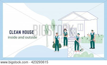 Garden, Yard And House Cleaning And Maintenance Company. Web Page Template For Professional Gardener
