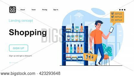 Shopping Web Concept. Man Buys Cosmetics In Store. Buyer Makes Purchases From List In Smartphone. Te
