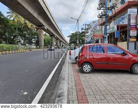 Closeup Of Empty Roads Due To Covid 19 Lockdown Rules Restriction, For Transport In A Bangalore, Yel
