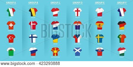 Football Shirts With Flag Of European Football Competition Participants Sorted By Group. Soccer Shir
