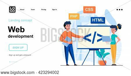 Web Development Web Concept. Team Of Programmers Coding Code, Work With Different Program Languages.