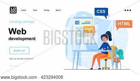 Web Development Web Concept. Woman Writes Code In Different Program Languages, Creates Page Layout.