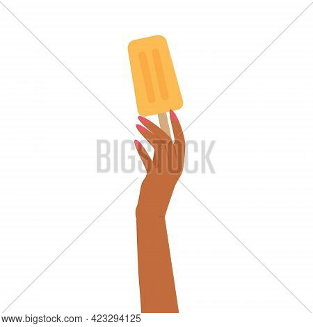 Black Hand Holding A N Ice Cream On  Isolated Background. Vector Illustration
