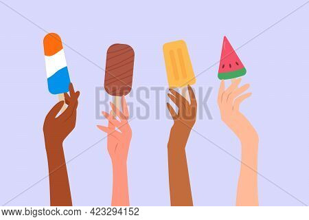 Different Skin Colored Human Hands Holding Various Ice Creams And Popsicles. Summer Time Concept. Co