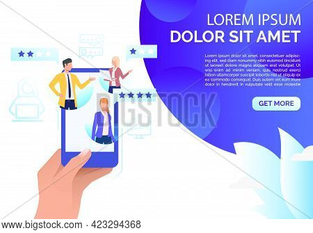 Hand Holding Smartphone With People And Speech Bubbles Vector. Feedback Online, Review, Social Media