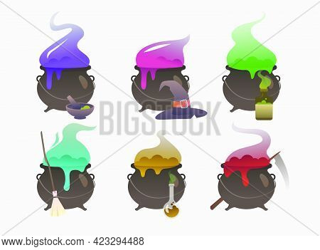 Set Of Pots Cooking Potion. Holiday, Witchery, Autumn. Halloween Concept. Vector Illustration Can Be