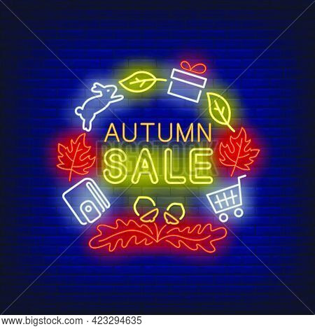 Autumn Sale Neon Lettering With Wallet, Rabbit, Autumn Leaves. Shopping, Discount, Sale Design. Nigh