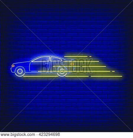 Car Driving Fast Neon Sign. Glowing Neon Automobile. Race, Competition, Motor Car. Night Bright Adve