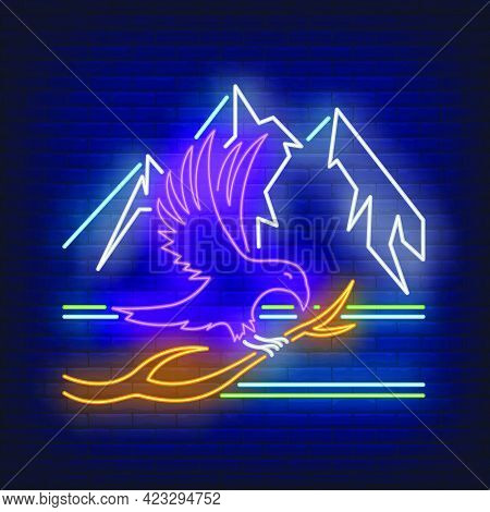 Crow Sitting On Branch And Mountains Neon Sign. Bird, Mystery, Halloween Design. Night Bright Neon S