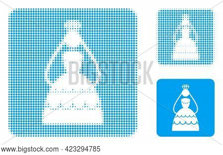 Crowned Bride Halftone Dotted Icon. Halftone Pattern Contains Round Elements. Vector Illustration Of
