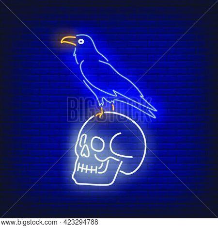 Crow Sitting On Human Skull Neon Sign. Bird, Horror, Halloween Design. Night Bright Neon Sign, Color