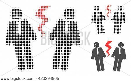 Businessmen Conflict Halftone Dotted Icon. Halftone Array Contains Round Dots. Vector Illustration O