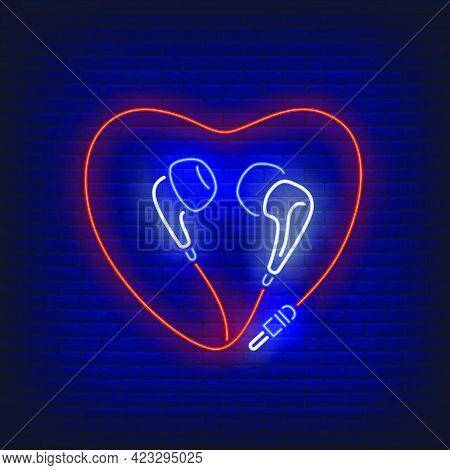 Heart Shaped Earphones Cable Neon Sign. Music, Sound, Device Design. Night Bright Neon Sign, Colorfu