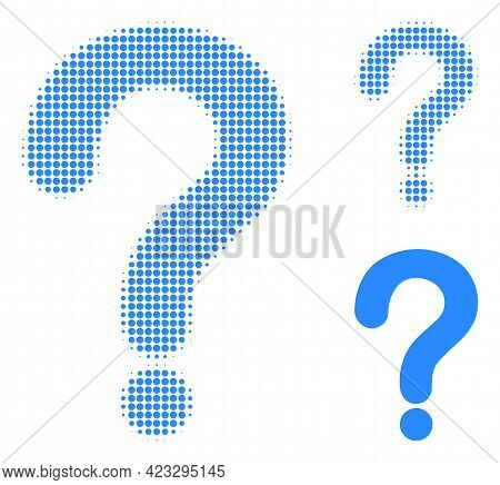 Question Mark Halftone Dotted Icon. Halftone Pattern Contains Round Points. Vector Illustration Of Q
