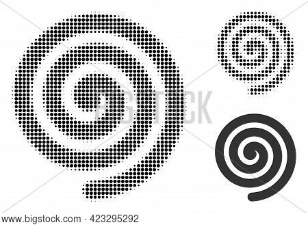 Hypnosis Spiral Halftone Dotted Icon. Halftone Pattern Contains Round Dots. Vector Illustration Of H