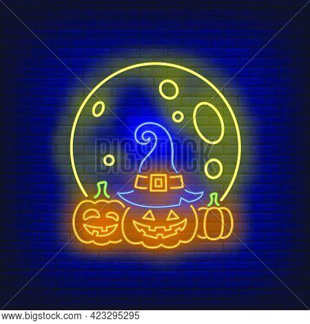 Moon And Pumpkins Neon Sign. Halloween, Advertisement Design. Night Bright Neon Sign, Colorful Billb