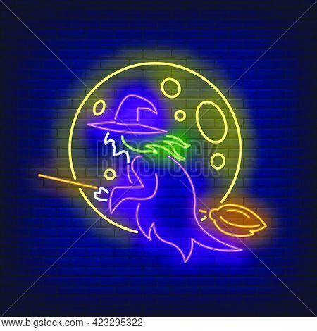 Moon And Witch Flying On Broom Neon Sign. Halloween, Advertisement Design. Night Bright Neon Sign, C