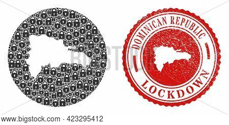 Vector Mosaic Dominican Republic Map Of Locks And Grunge Lockdown Seal Stamp. Mosaic Geographic Domi
