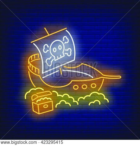 Pirate Ship With Jolly Roger And Gold Neon Sign. Adventure, Vessel, Journey Design. Night Bright Neo