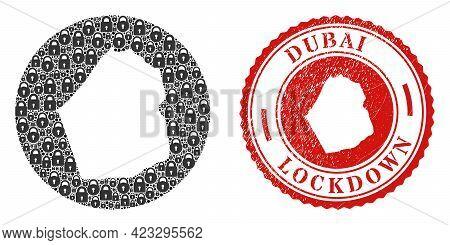 Vector Mosaic Dubai Emirate Map Of Locks And Grunge Lockdown Seal. Mosaic Geographic Dubai Emirate M
