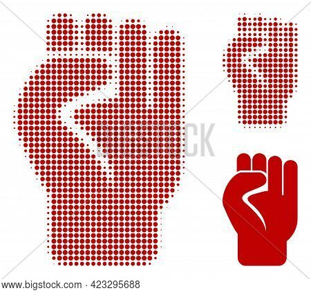 Clenched Fist Halftone Dotted Icon. Halftone Array Contains Round Points. Vector Illustration Of Cle