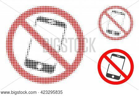 Forbidden Smartphone Halftone Dotted Icon. Halftone Array Contains Round Dots. Vector Illustration O