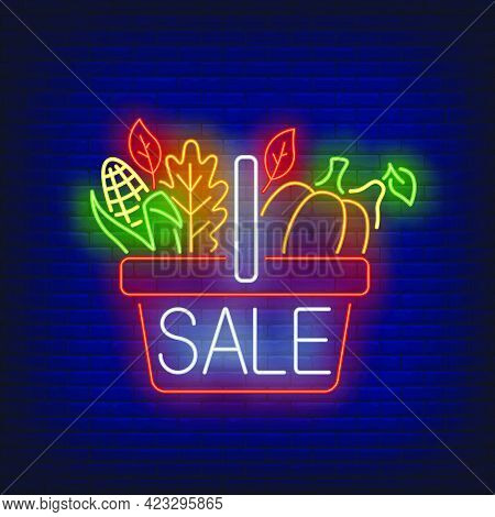 Thanksgiving Food Basket Neon Sign. Glowing Neon Text. Sale, Discounts, Thanksgiving Day. Night Brig