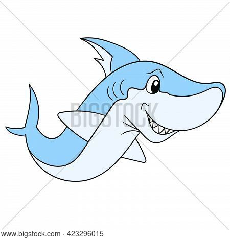 The Giant Fierce Shark Was Swimming In Search Of Its Prey With Its Smirking Face, Vector Illustratio