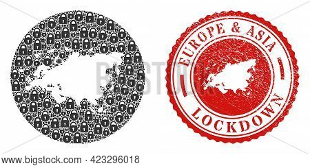 Vector Mosaic Europe And Asia Map Of Locks And Grunge Lockdown Stamp. Mosaic Geographic Europe And A