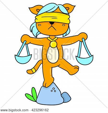 A Dog Wearing An Eye Patch Carries A Scale Symbolizing Legal Justice, Vector Illustration Art. Doodl