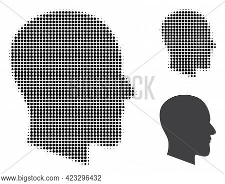 Gentleman Profile Halftone Dotted Icon. Halftone Array Contains Round Elements. Vector Illustration