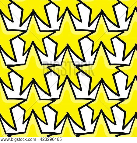 Yellow Star Seamless Pattern Textile Print. Great For Summer Vintage Fabric, Scrapbooking, Wallpaper