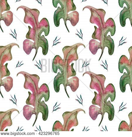 Tropical Background With Jungle Plants. Palm Leaves On A White Background. Hawaiian Wallpaper. Summe