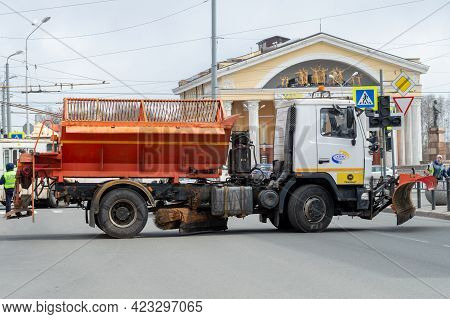 Petrozavodsk, Russia - 1 May 2021. A Heavy Truck Of City Services Blocked The Street During Mass Eve