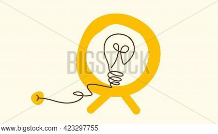 Electric Lamp With Cord Plugged In Socket. Cartoon Tv With Idea Sign. Circle Mirror. Vector Design F