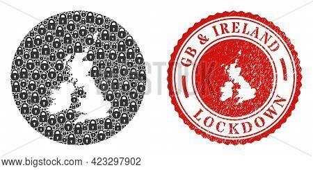 Vector Mosaic Great Britain And Ireland Map Of Locks And Grunge Lockdown Seal Stamp. Mosaic Geograph