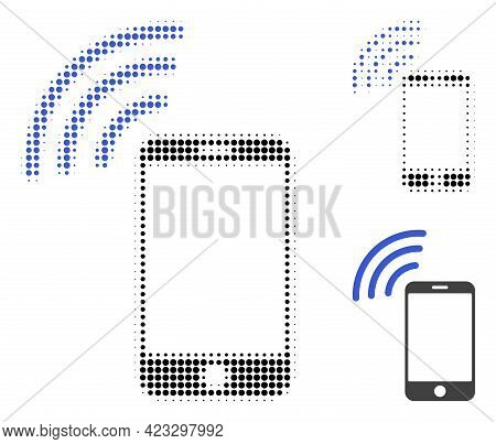 Cellphone Signal Halftone Dotted Icon. Halftone Array Contains Circle Elements. Vector Illustration