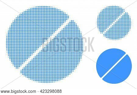 Medication Tablet Halftone Dotted Icon. Halftone Array Contains Round Pixels. Vector Illustration Of