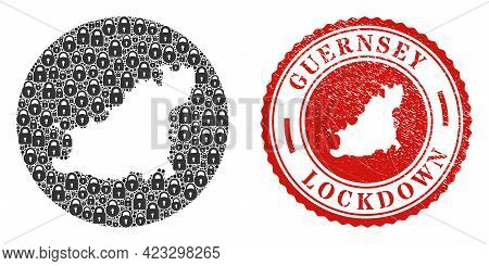 Vector Collage Guernsey Island Map Of Locks And Grunge Lockdown Seal Stamp. Mosaic Geographic Guerns
