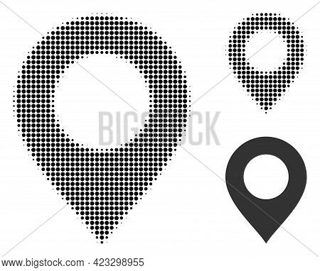 Map Mark Halftone Dotted Icon. Halftone Array Contains Round Dots. Vector Illustration Of Map Mark I