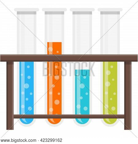 Test Tube Holder Glass Stand Row Vector Icon Isolated On White