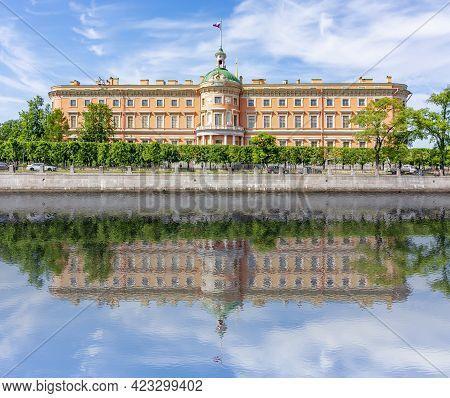 St. Michael's Castle (mikhailovsky Castle Or Engineers' Castle) Reflected In Fontanka River, Saint P
