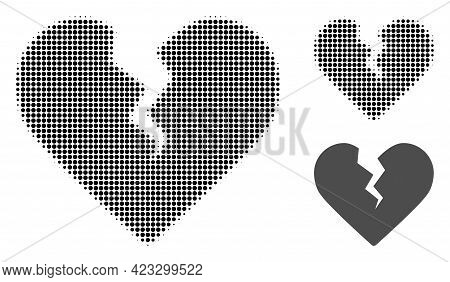 Divorce Heart Halftone Dotted Icon. Halftone Pattern Contains Round Points. Vector Illustration Of D