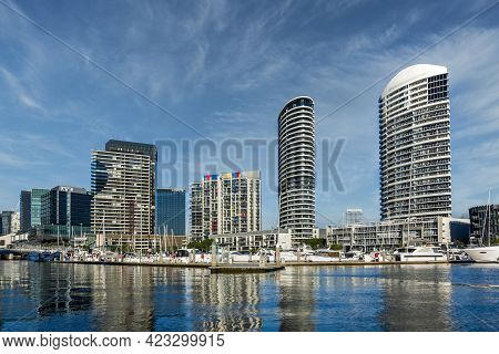 Melbourne, Australia - May 17, 2019: Luxury Waterfront Apartment Buildings And Yachts Viewed From Th